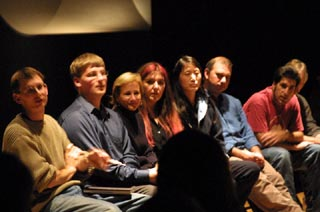 Our group on the Verandah during the dialog with the audience the evening of the premiere of Ecce Homology at the Fowler